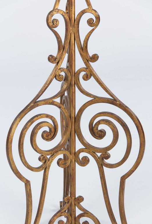 French Gilded Wrought Iron Floor Lamp 1940s At 1stdibs