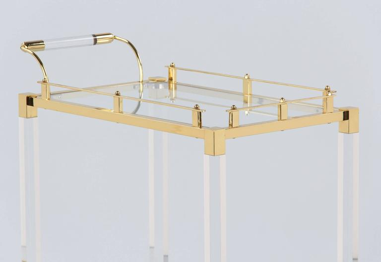 Spanish Vintage Lucite and Brass Bar Cart, 1970s For Sale 1