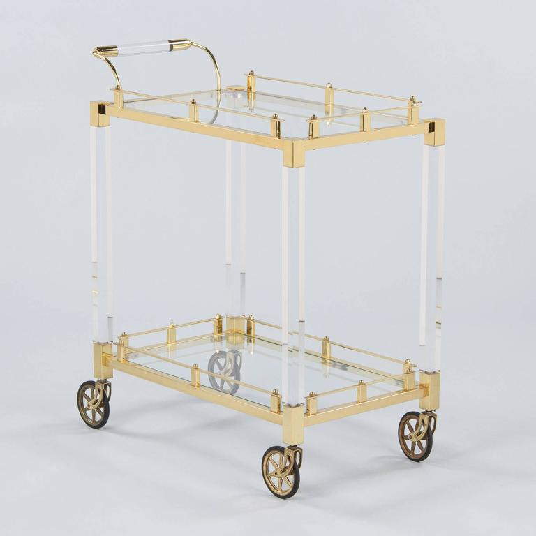 Modern Spanish Vintage Lucite and Brass Bar Cart, 1970s For Sale