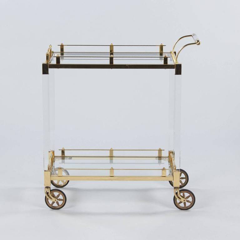 Spanish Vintage Lucite and Brass Bar Cart, 1970s In Good Condition For Sale In Austin, TX