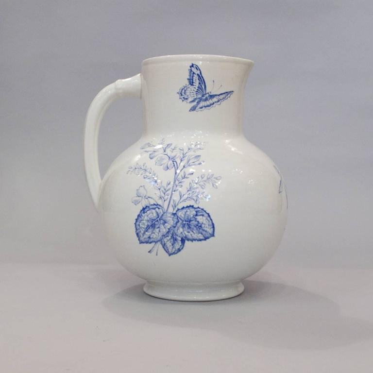 French Sarreguemines Ceramic Pitcher and Bowl, 1920s 9