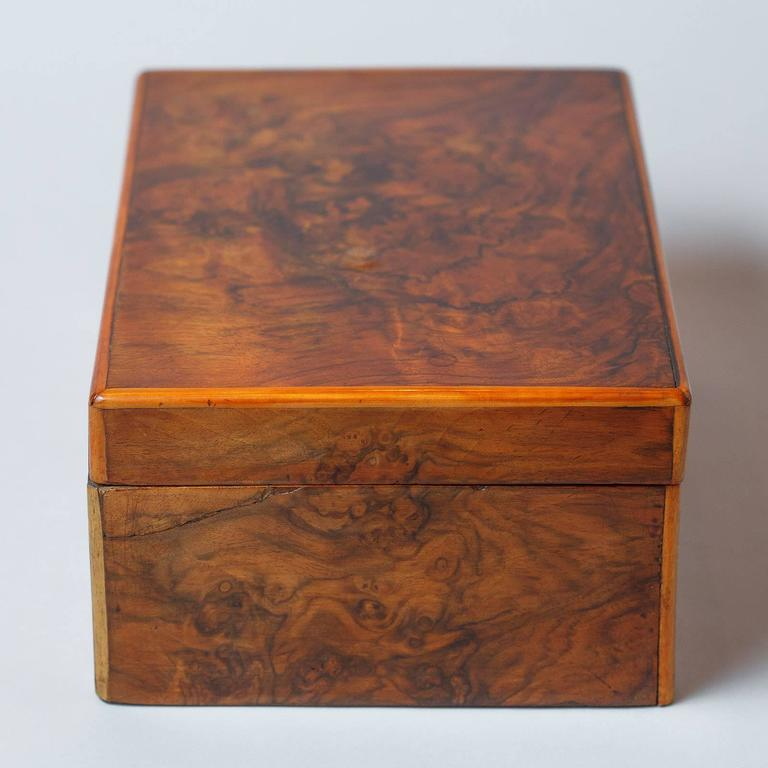 French Walnut Jewelry Box, Early 1900s For Sale 2