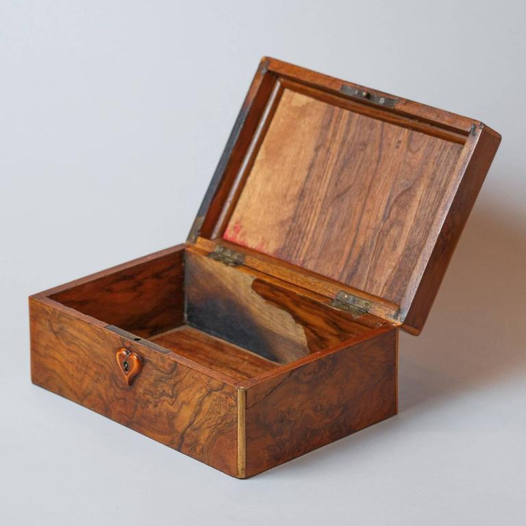 French Walnut Jewelry Box, Early 1900s For Sale 1