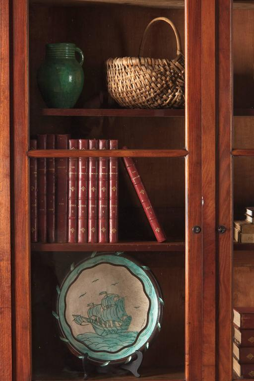 Louis Philippe Open Bookcase: Louis Philippe Period Walnut Three-Door Bookcase, 1830s