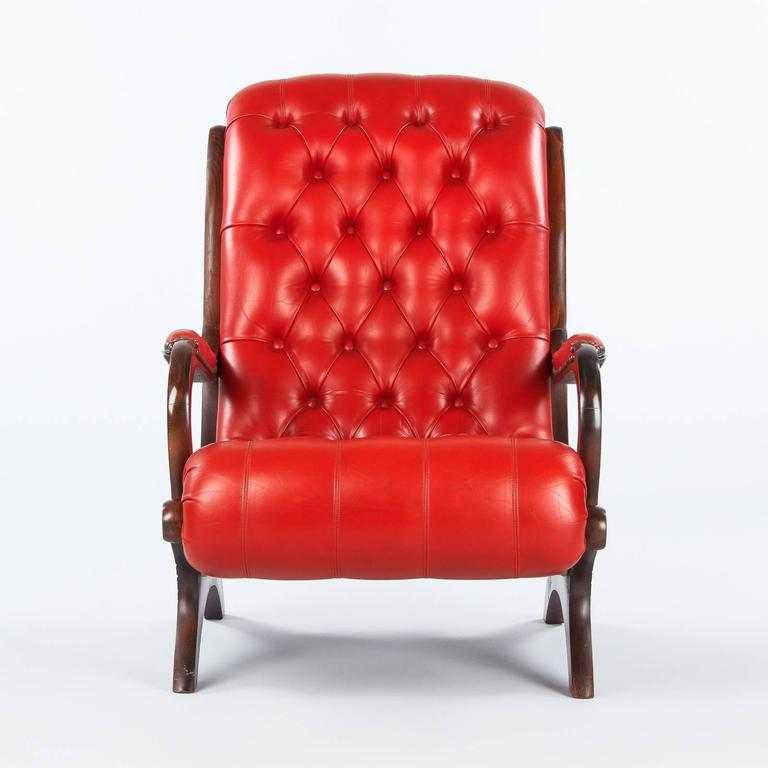 Etonnant French English Style Armchair And Ottoman In Tufted Red Leather, 1950s For  Sale
