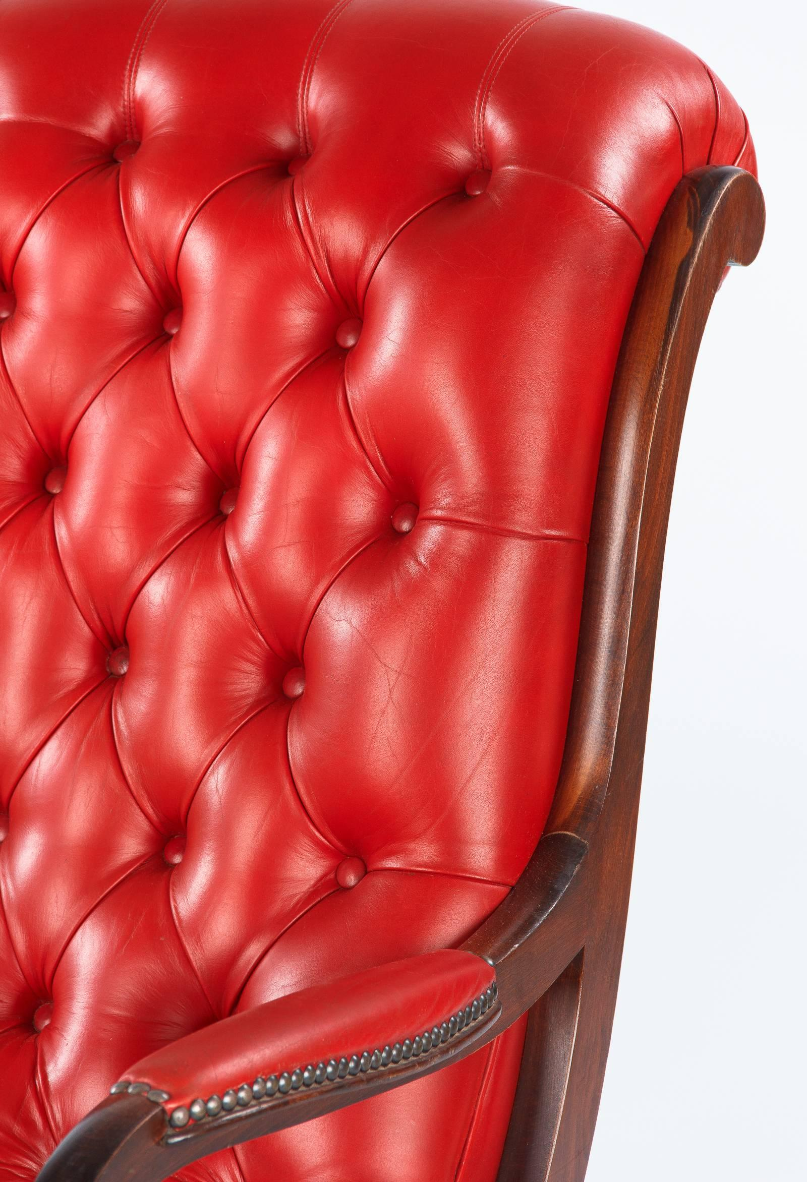 english style armchair and ottoman in tufted red leather 1950s for