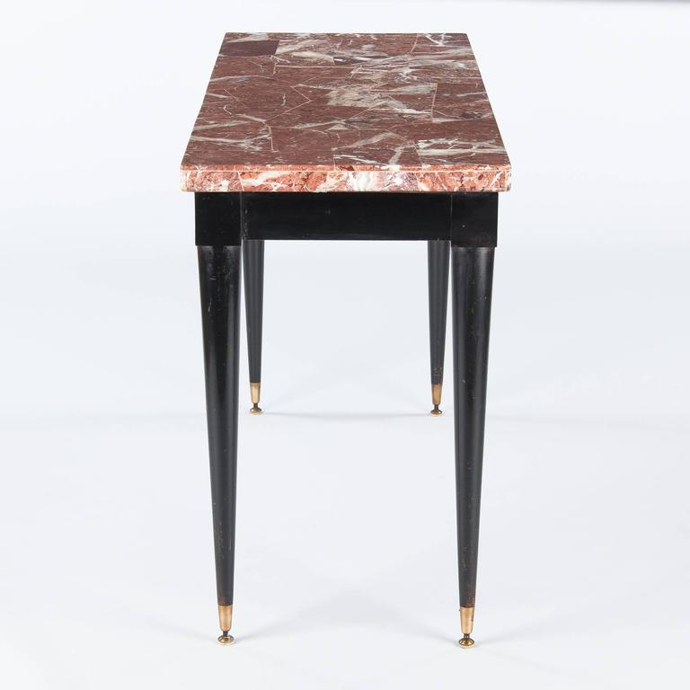 Mid-Century Italian Marble Top Console Table, 1950s For Sale 1