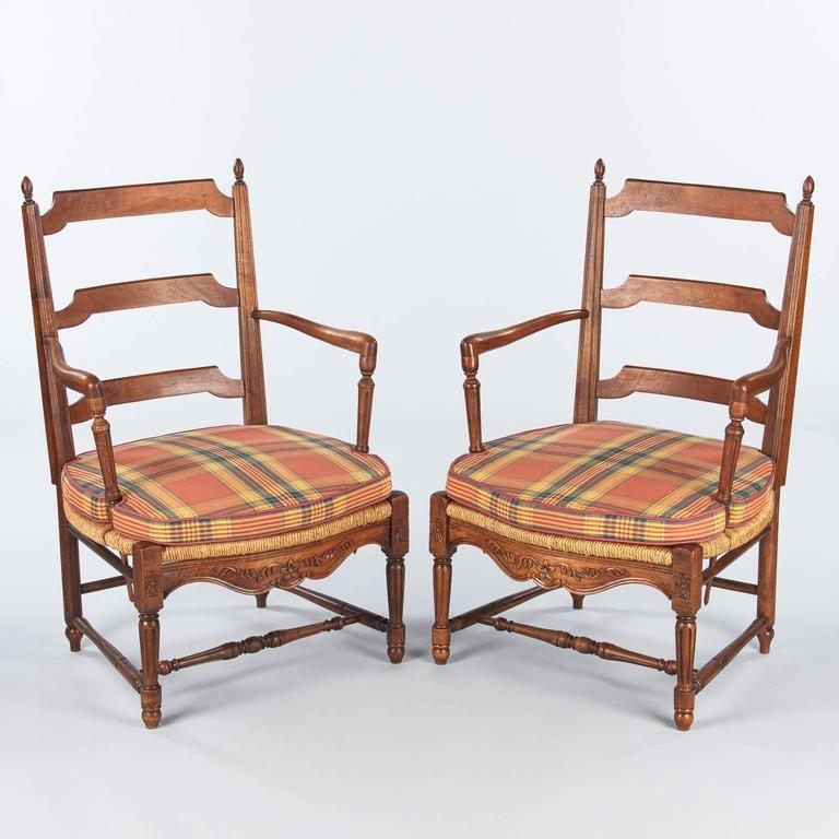 Pair of Louis XVI Style Provencal Rush Seat Armchairs, 1940s For Sale 2