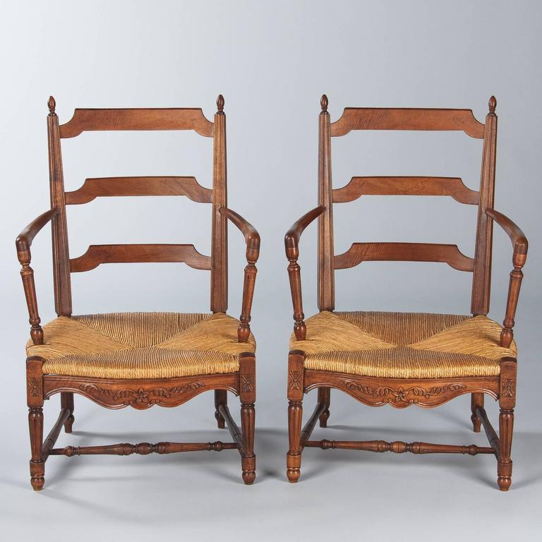 Pair of Louis XVI Style Provencal Rush Seat Armchairs, 1940s For Sale 4