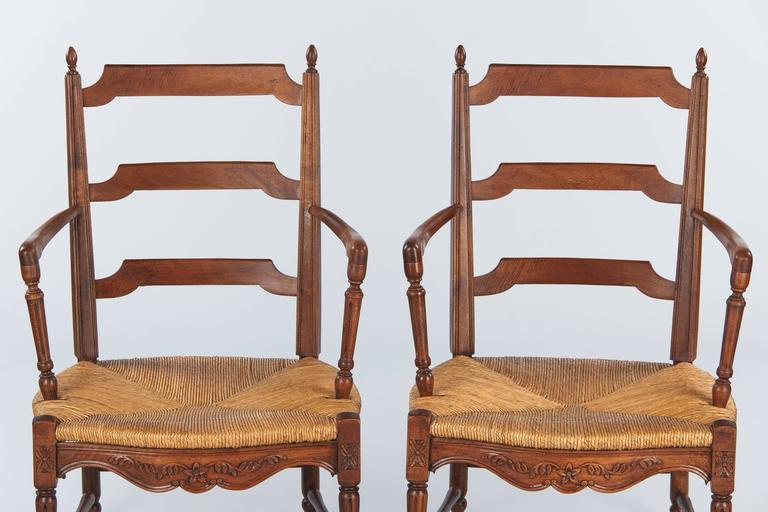 French Pair of Louis XVI Style Provencal Rush Seat Armchairs, 1940s For Sale
