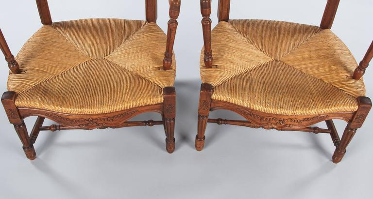 Pair of Louis XVI Style Provencal Rush Seat Armchairs, 1940s For Sale 3