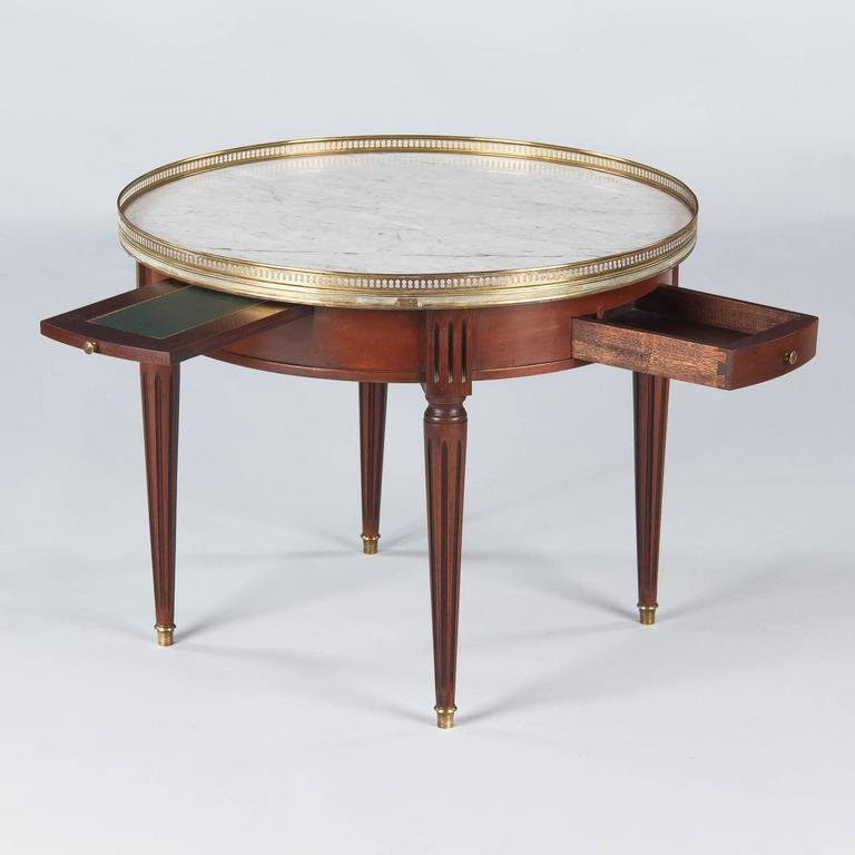 "Louis XVI Style Cherrywood and Marble-Top ""Bouillotte"" Table, 1940s 3"