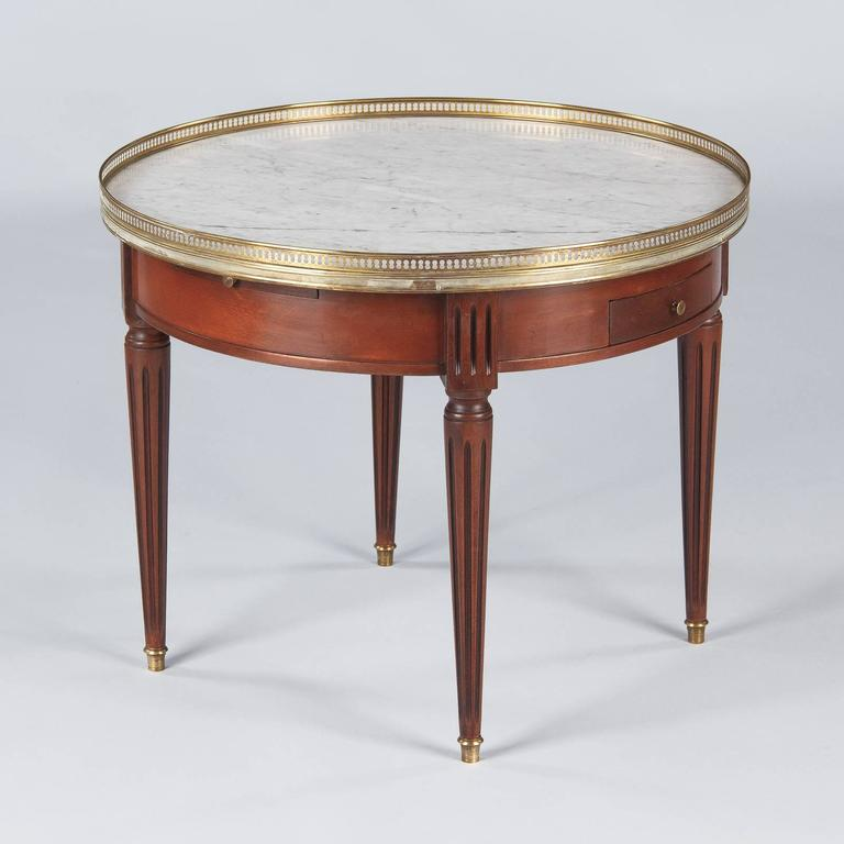 "Louis XVI Style Cherrywood and Marble-Top ""Bouillotte"" Table, 1940s 10"