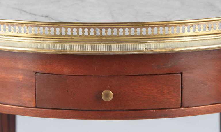 Brass Louis XVI Style Cherrywood and Marble-Top