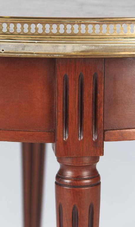 "Louis XVI Style Cherrywood and Marble-Top ""Bouillotte"" Table, 1940s 7"