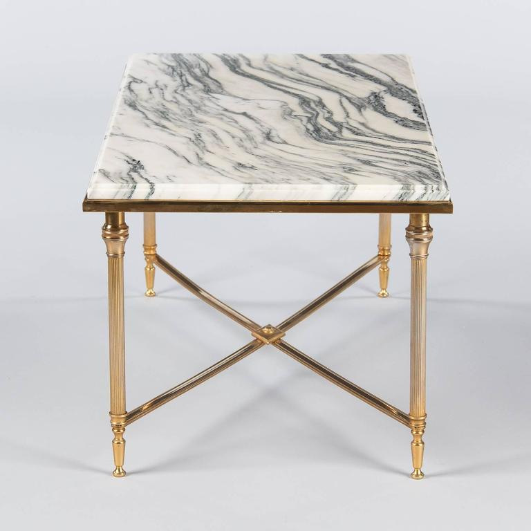Mid-Century French Brass Coffee Table With Marble Top