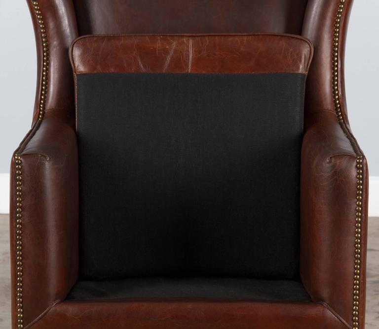 Beech Pair of French Leather Wingback Armchairs, 1980s For Sale