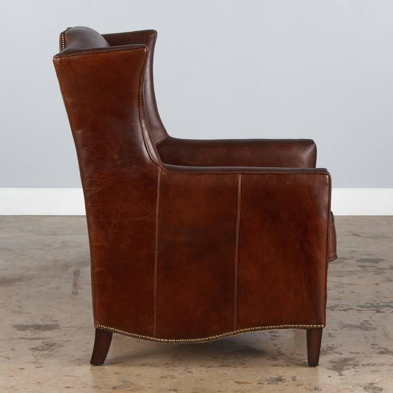 Pair of French Leather Wingback Armchairs, 1980s For Sale 2