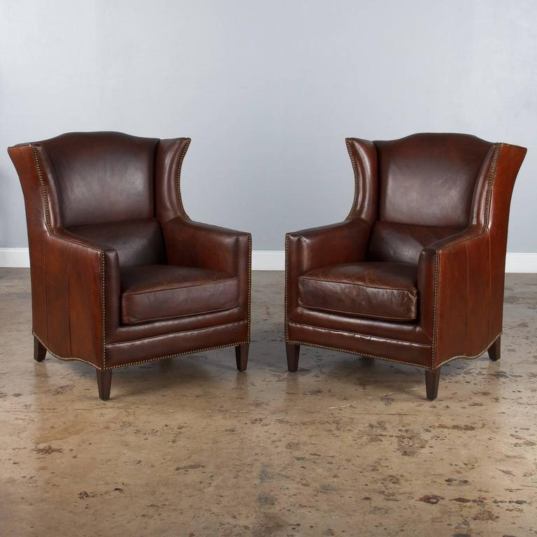 Pair Of French Leather Wingback Armchairs 1980s At 1stdibs