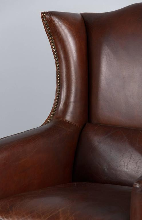 Pair of French Leather Wingback Armchairs, 1980s In Good Condition For Sale In Austin, TX