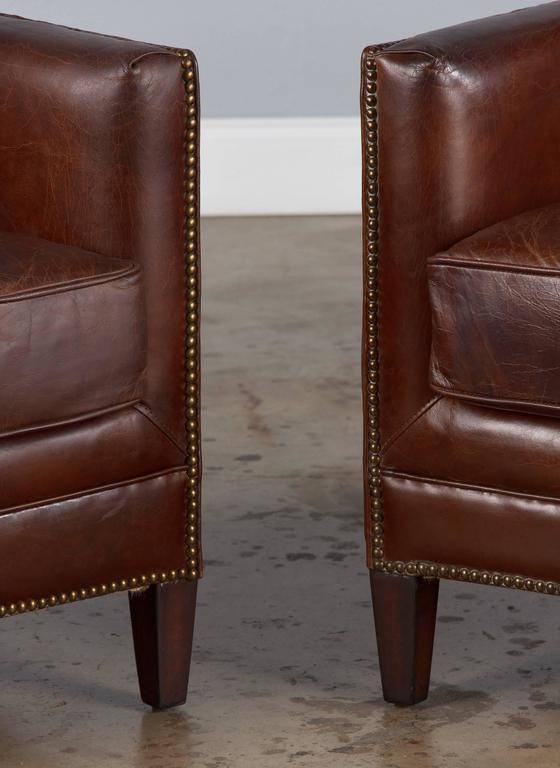 20th Century Pair of French Leather Wingback Armchairs, 1980s For Sale