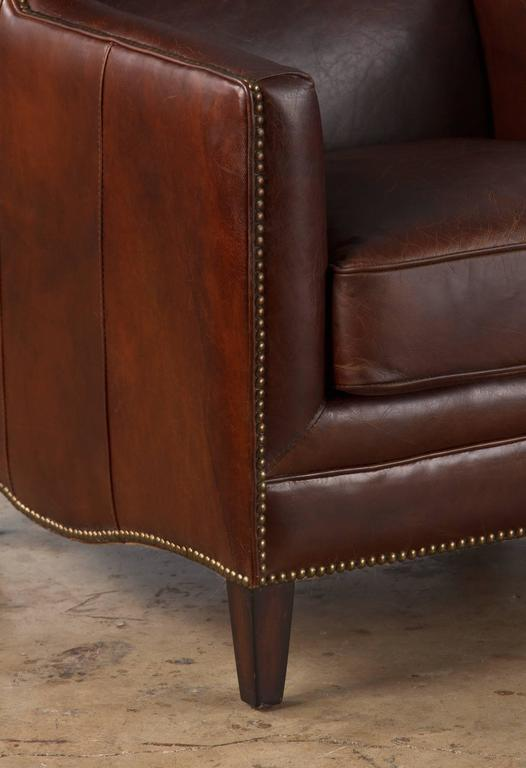 Pair of French Leather Wingback Armchairs, 1980s For Sale 1
