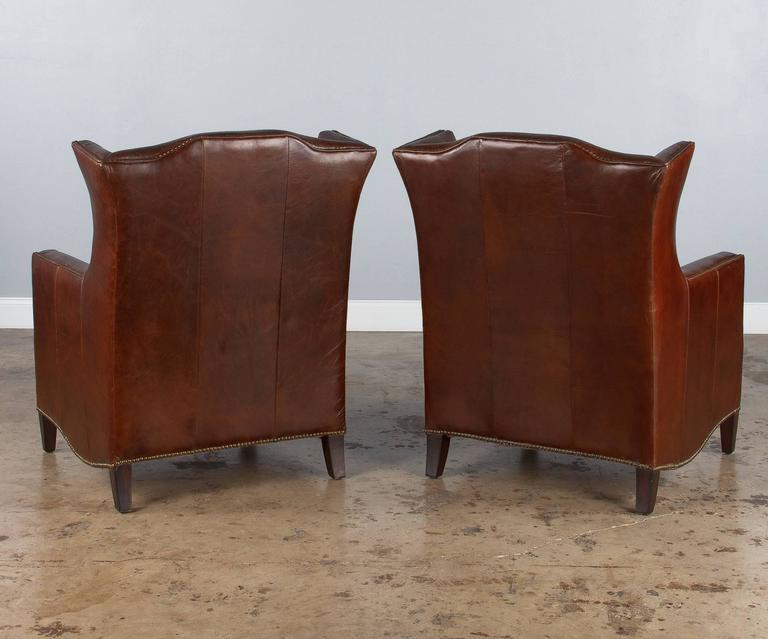 Pair of French Leather Wingback Armchairs, 1980s For Sale 4