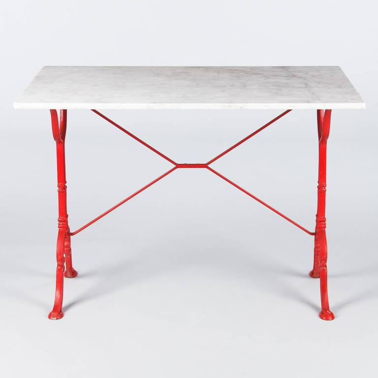 Mid century marble top bistro table with red iron base by for Mid century bistro table