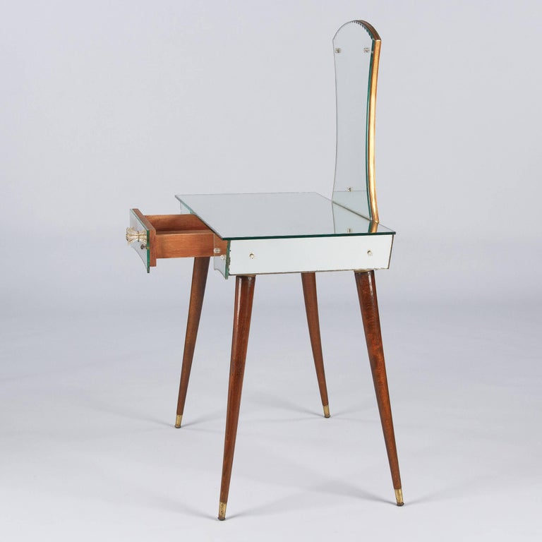 Brass Mid-Century Mirrored Venetian Glass Vanity Table, 1950s For Sale