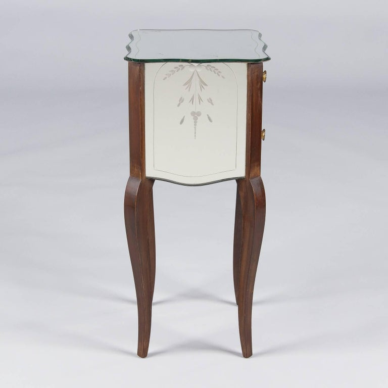 Mahogany French Mid-Century Mirrored Venetian Glass Two-Drawer Chest, 1950s For Sale