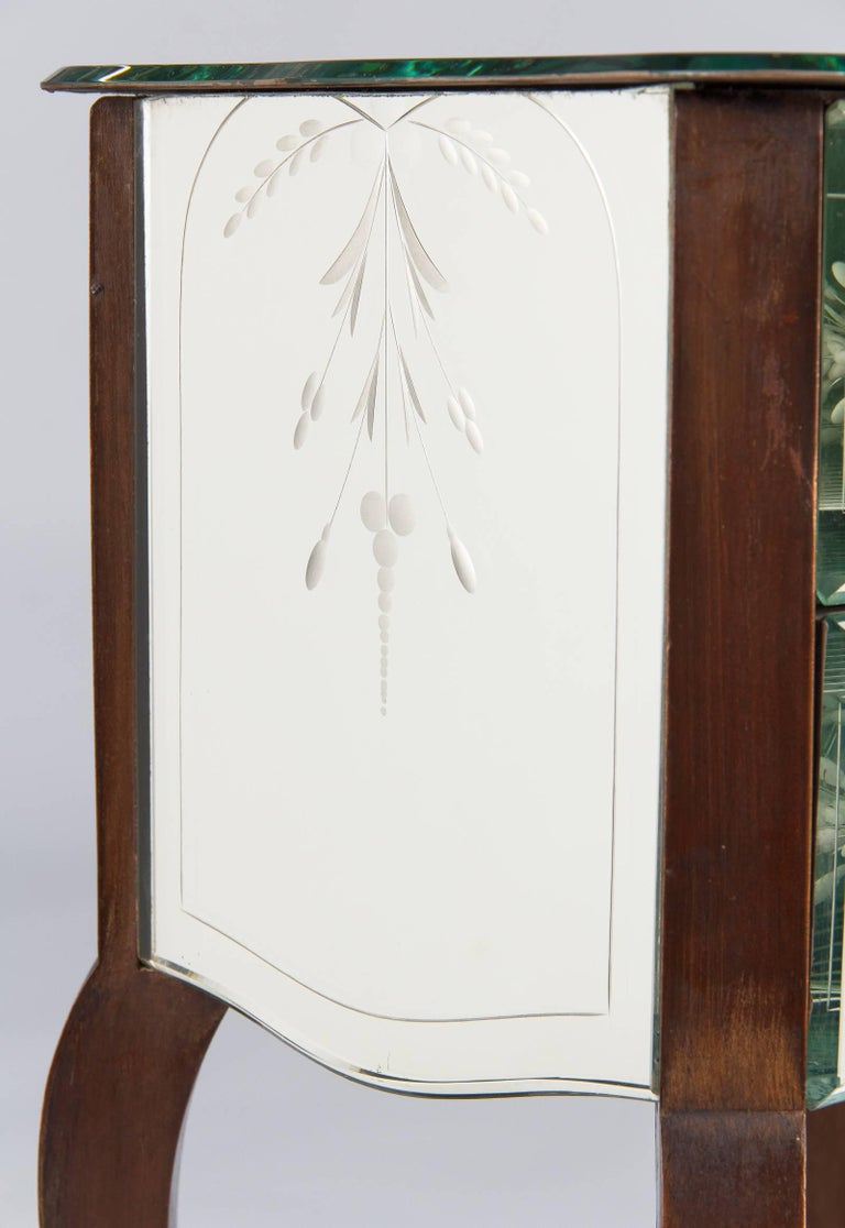 Etched French Mid-Century Mirrored Venetian Glass Two-Drawer Chest, 1950s For Sale