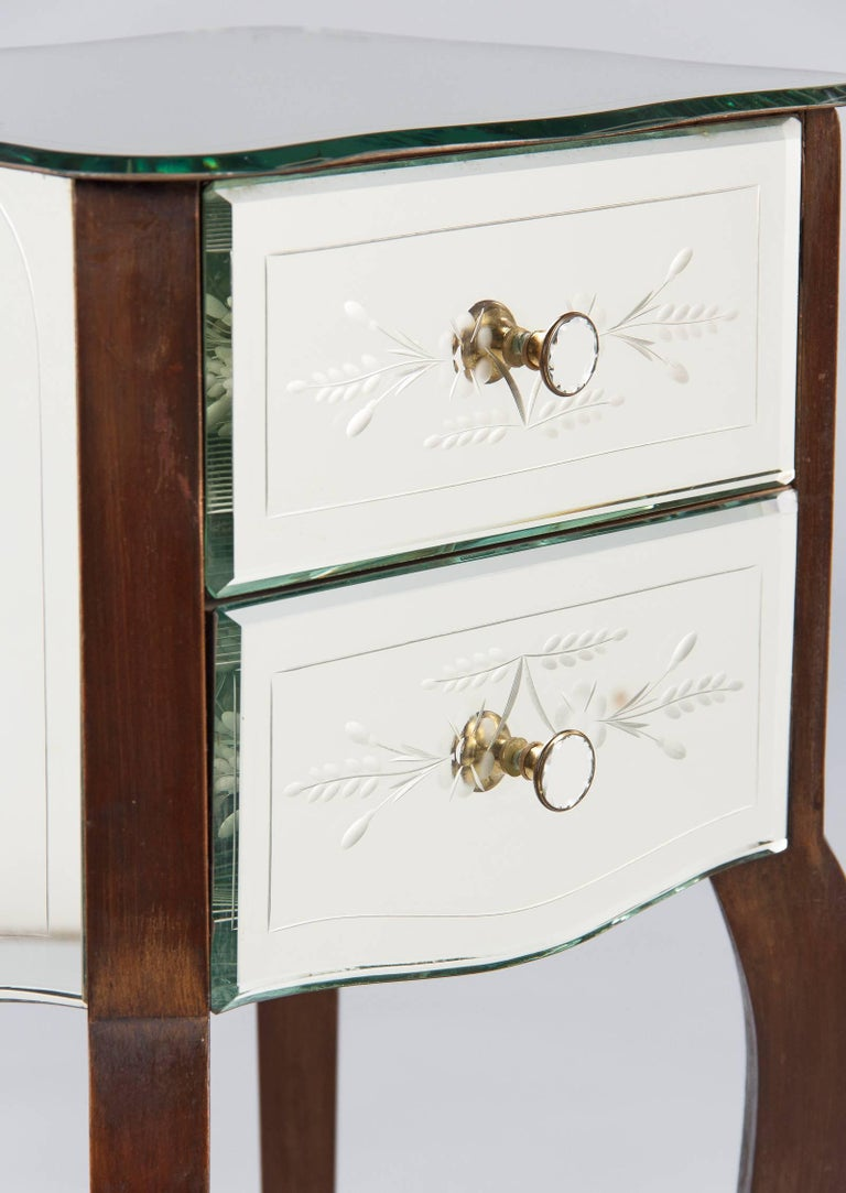 Mid-20th Century French Mid-Century Mirrored Venetian Glass Two-Drawer Chest, 1950s For Sale