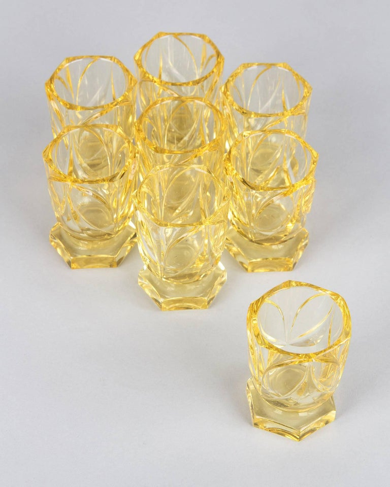 Cut Glass Art Deco Bohemia Glass Decanter Set by Moser, 1940s For Sale