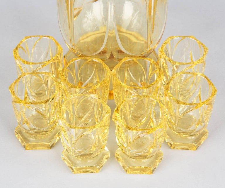 Art Deco Bohemia Glass Decanter Set by Moser, 1940s For Sale 1