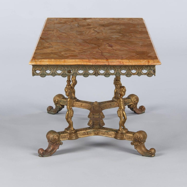 Italian Rococo Brass Coffee Table With Onyx Top 1970s For Sale At 1stdibs