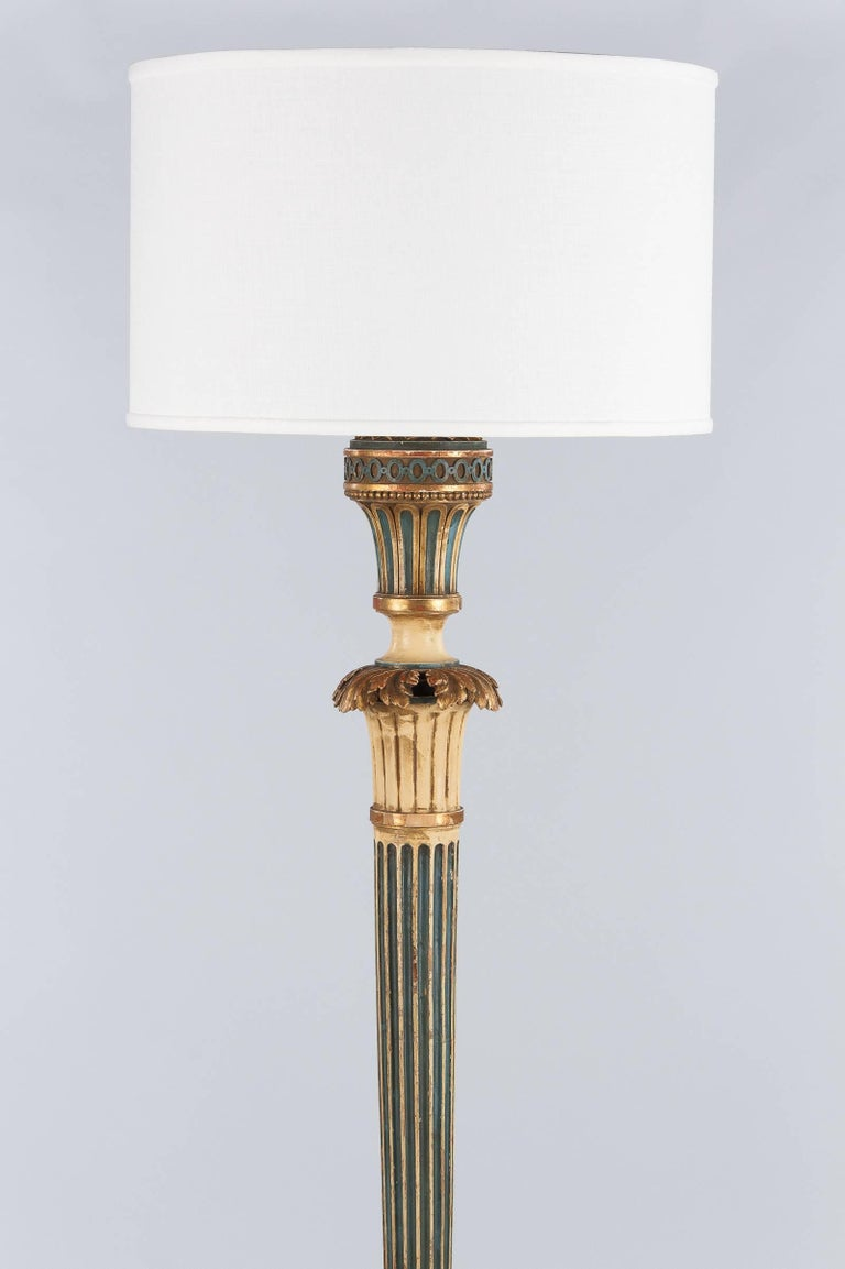 Louis Xvi Style Painted Wooden Floor Lamp 1940s For Sale