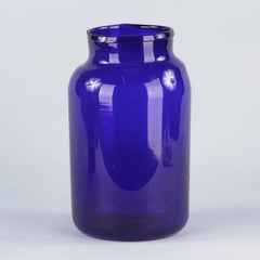 French Cobalt Blue Glass Pharmacy Jar, 1930s