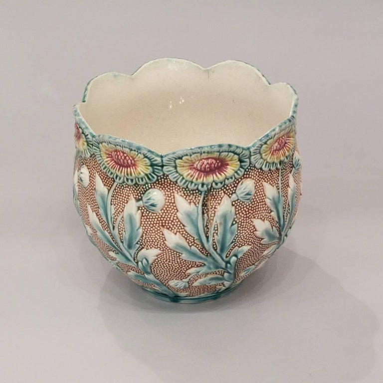 French Art Deco Barbotine Ceramic Cachepot, 1930s 3