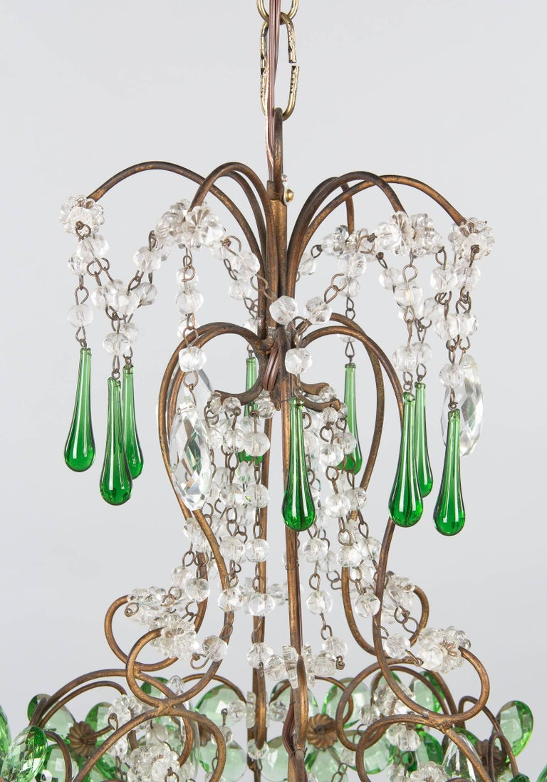 French green glass and crystal chandelier 1920s for sale at 1stdibs early 20th century french green glass and crystal chandelier 1920s for sale aloadofball Gallery