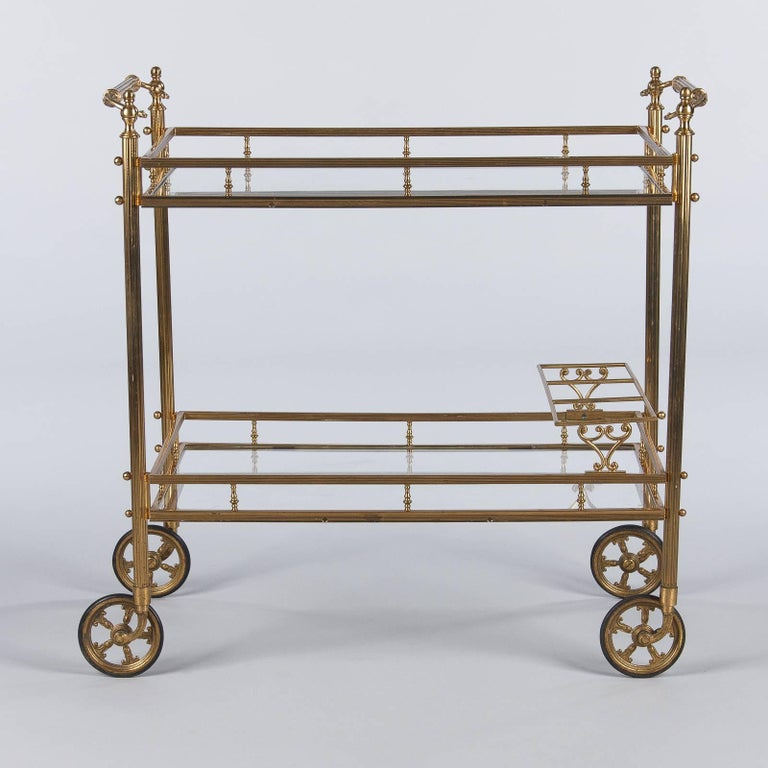 Mid-Century Modern Maison Baguès Brass and Glass Bar Two-Tiered Cart, 1950s For Sale