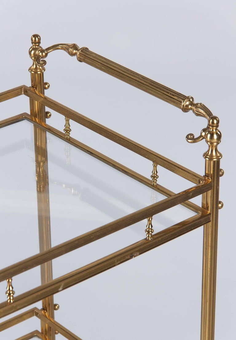 French Maison Baguès Brass and Glass Bar Two-Tiered Cart, 1950s For Sale
