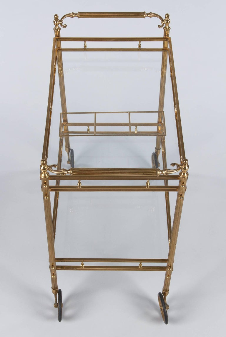 Mid-20th Century Maison Baguès Brass and Glass Bar Two-Tiered Cart, 1950s For Sale