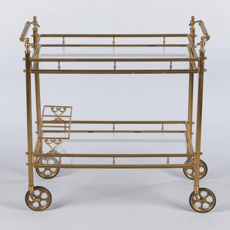 Maison Baguès Brass and Glass Bar Two-Tiered Cart, 1950s For Sale 1