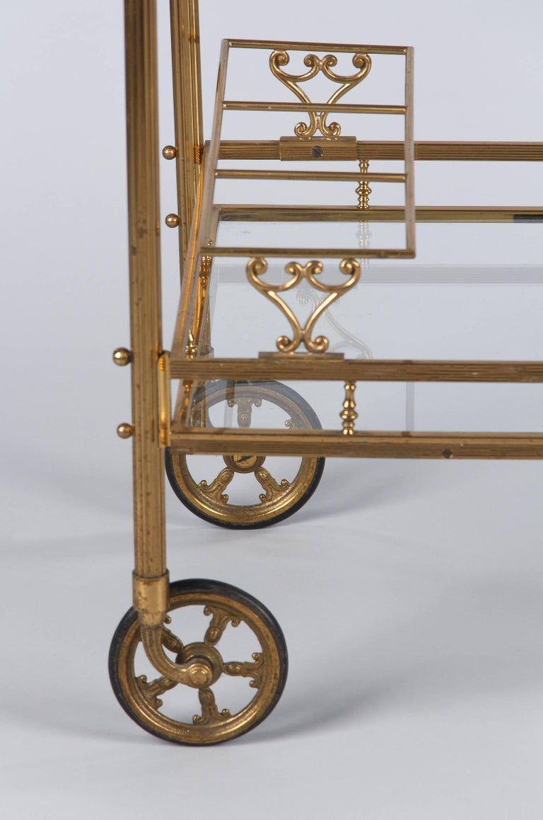 Maison Baguès Brass and Glass Bar Two-Tiered Cart, 1950s For Sale 2