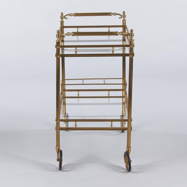 Maison Baguès Brass and Glass Bar Two-Tiered Cart, 1950s For Sale 4