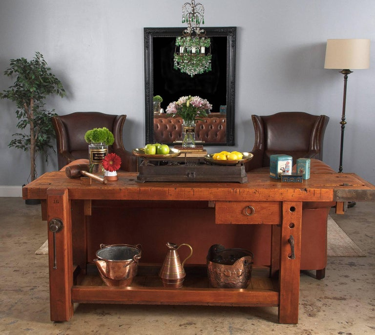 A fabulous working etabli, or carpenter's workbench constructed from beechwood, circa 1950. This piece was hand built by the cabinet maker who used it and bears his branded initials,