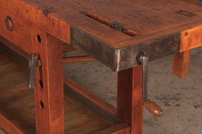 20th Century French Cabinet Maker's Workbench in Beechwood, 1950s
