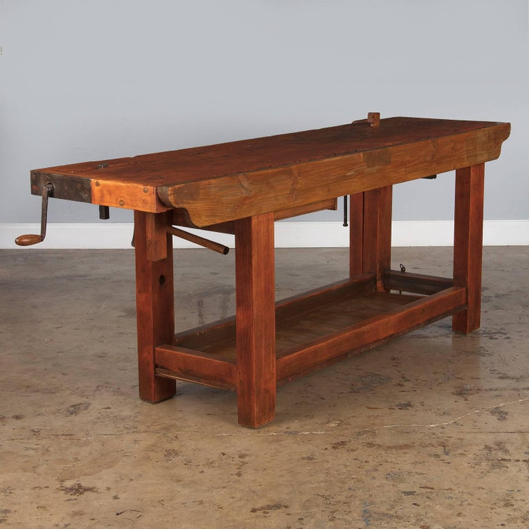 French Cabinet Maker's Workbench in Beechwood, 1950s 1