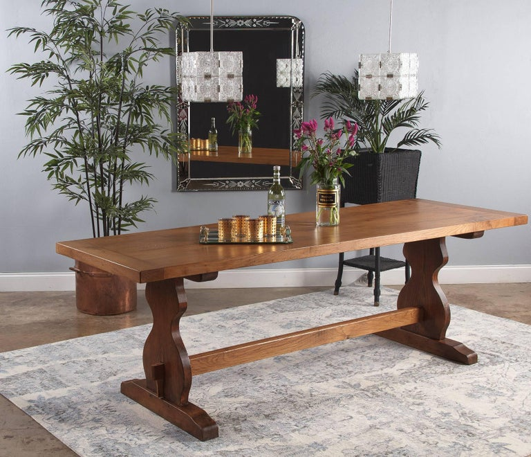 1940s Dining Room Furniture French Golden Oak Trestle Table 2 B