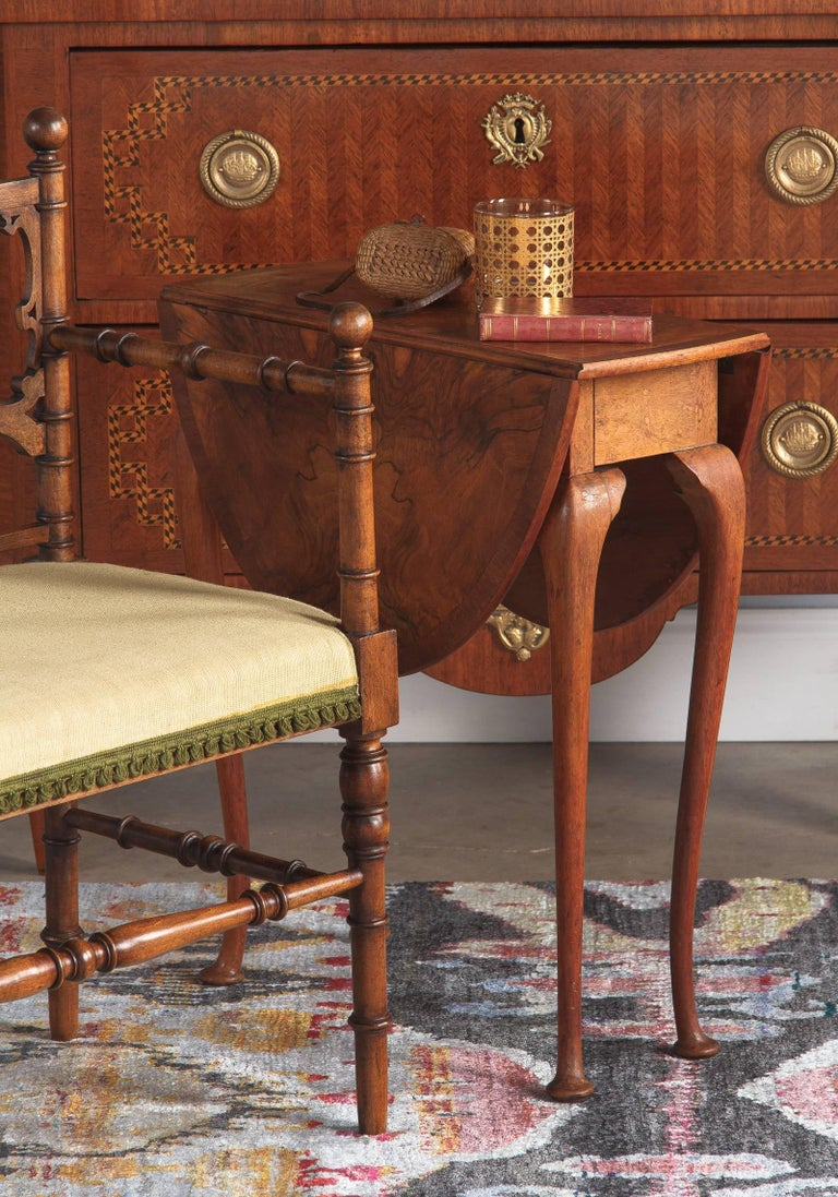 Queen Anne Style Petite Drop Leaf Table England Late